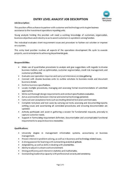 entry level finance resume no experience entry level business analyst jobs description