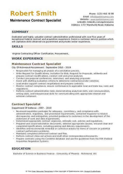 entry level contract specialist resume sample resume for science