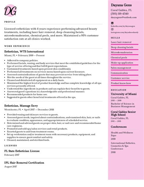 esthetician resume sample no experience sample resume writing guide