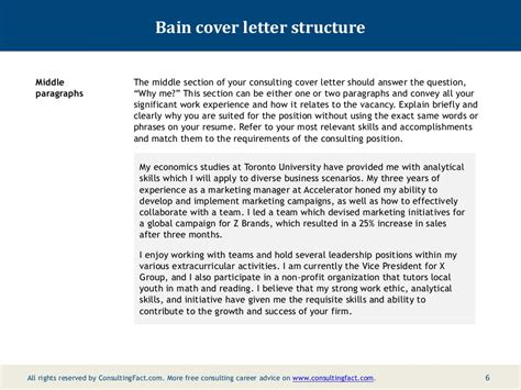 example cover letter seek bain cover letter sample consultingfact