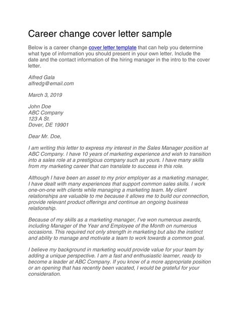 Cover Letters For Changing Careers 9 best images of career cover letter template career change Example Cover Letter Career Change Career Change Cover Letter Sample Job Interviews