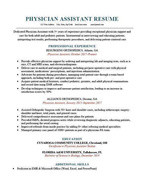 example cover letter physician physician assistant resume curriculum vitae and cover
