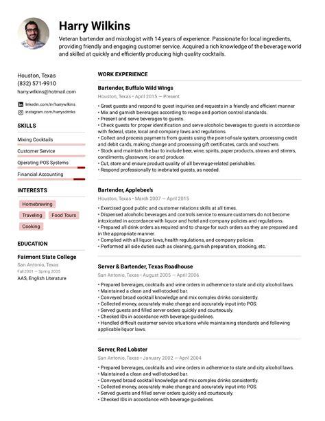 example of a good bartender resume killer bartending resume sample you can copy