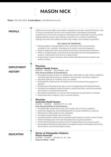 Example Of A Brief Resume Medical Doctor Resume Example Sample