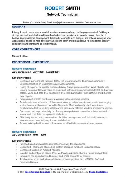 example of resume network technician network technician resume sample resume builder
