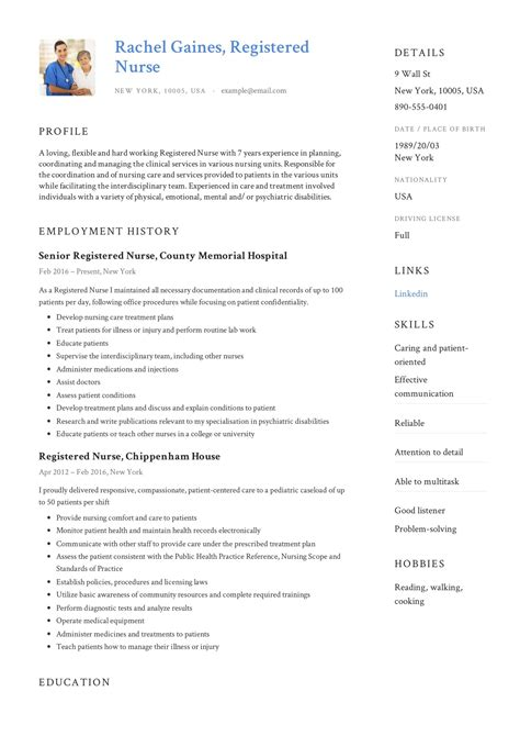 Example Of Professional Resume Template Nursing Resume Template Cv Example Job Description