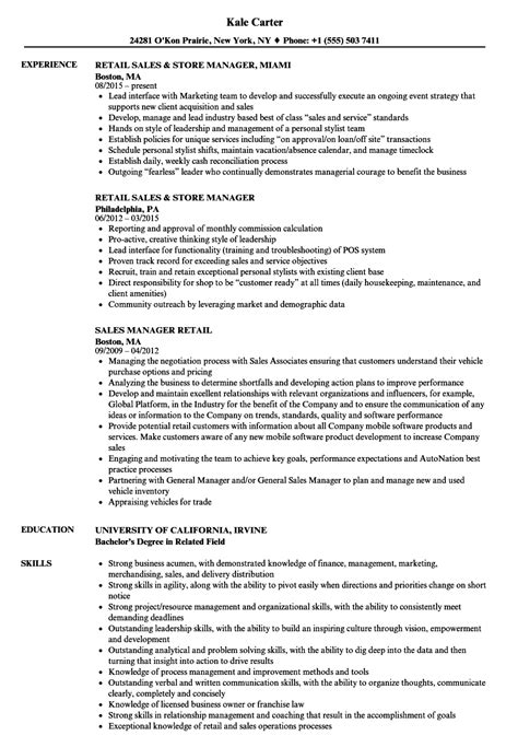 Example Of A Resume For A Retail Position Retail Sales Resume Example