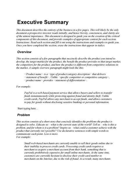 resume templates free for cna - Executive Summary Resume Examples