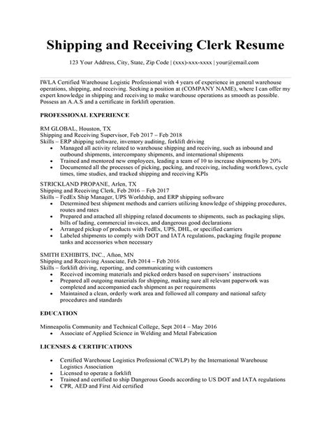 example of resume shipping and receiving shipping clerk resume sample