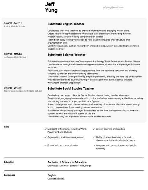 example of a resume for a kindergarten teacher substitute teacher resume example