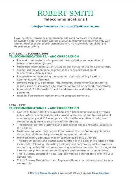 Example Of Resume For Quality Assurance Telecommunications Resume Example Resume And Cover