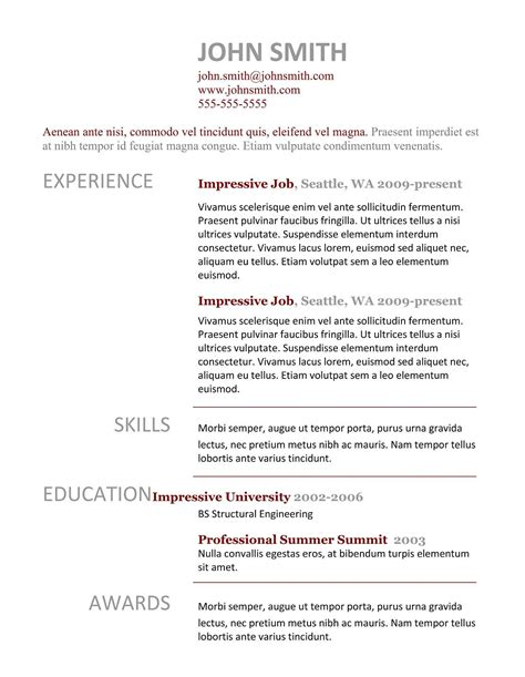 Example Professional Cv Layout Student Example Cv