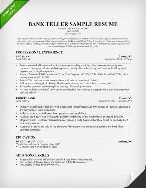 Example Resume For A Bank Teller Bank Teller Sample Resume Job Interviews Interview