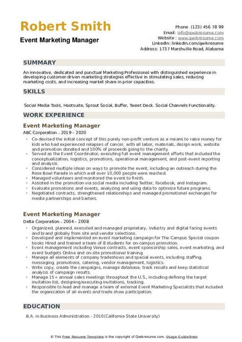 Example Resume Objectives For Management Positions Event Marketing Resume Example