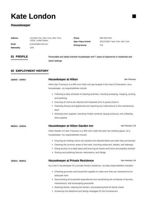 example resume of housekeeping cover letter sales leader