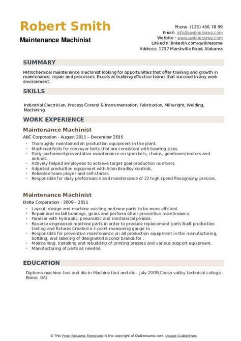 example resume machinist writing a cv in german