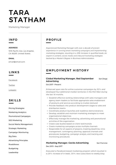 Example Resume Objectives For Management Positions Marketing Manager Resume Sample Resume For Marketing