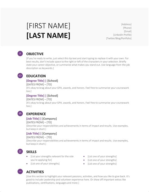 Example Resume Template Word Microsoft Resume Template Word 2010 Papercheck