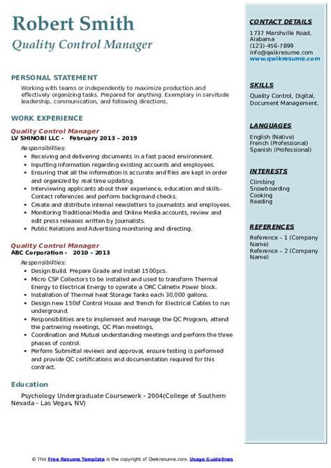 Example Resume Quality Manager Quality Control Manager Resume Sample Livecareer