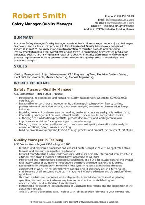 Example Resume Quality Manager Quality Manager Resume Example