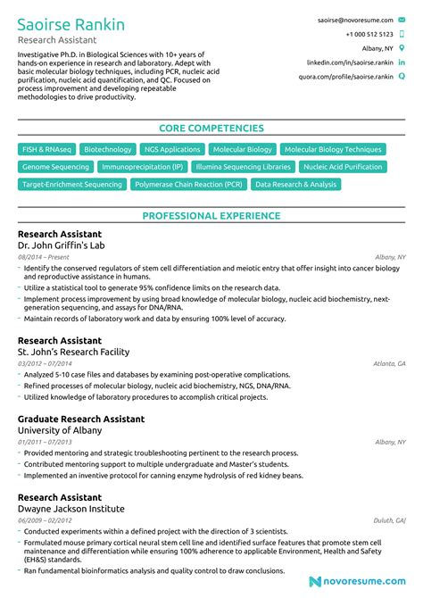 Example Resume With Internship Research Assistant Resume Example Sample