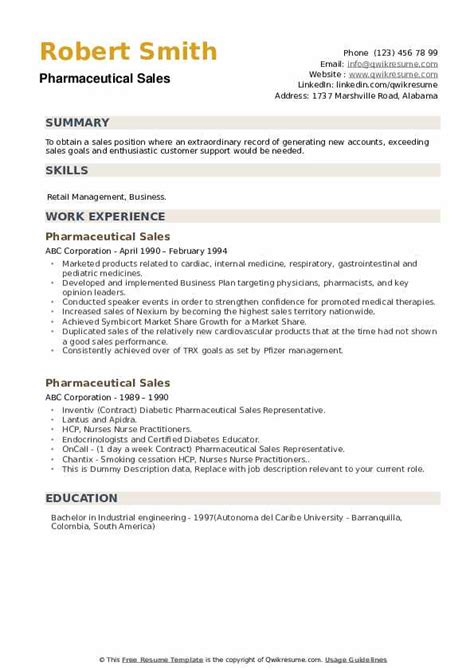 Example Sales Resume Objectives Pharmaceutical Sales Resume Example