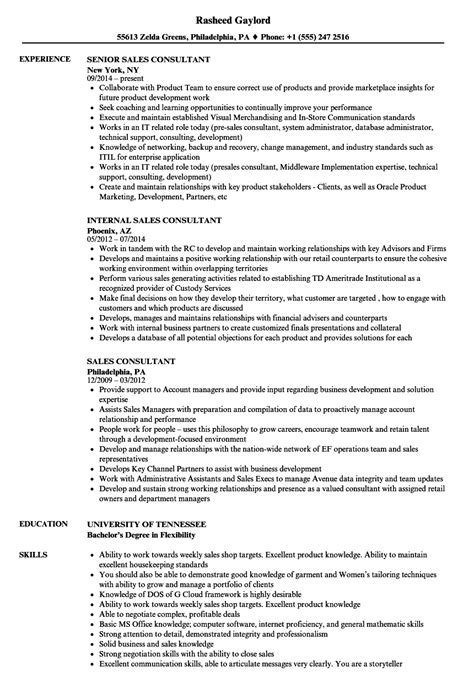 Example Sales Resume Objectives Sales Consultant Resume Example