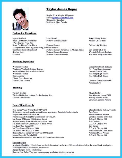 examples of dance resume dancer resume samples visualcv resume samples database