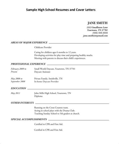 Examples Of A Resume For High School Students High School Resume Examples And Writing Tips The Balance
