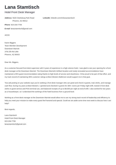 Examples Of Cover Letter Tourism Hospitality Tourism Cover Letter Samples Workbloom