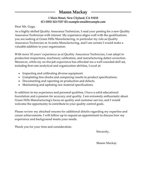 Cover Letter Examples For Quality Control   Sample Customer     duupi