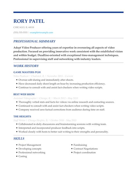 examples of video resumes video producer resume sample art resumes livecareer video resume samples video resume sample