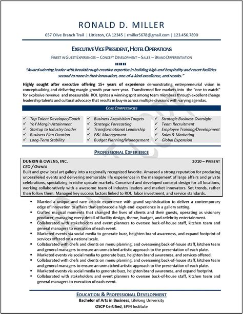 Executive Resume Marketing Executive Resume Executive Resume Samples Examples