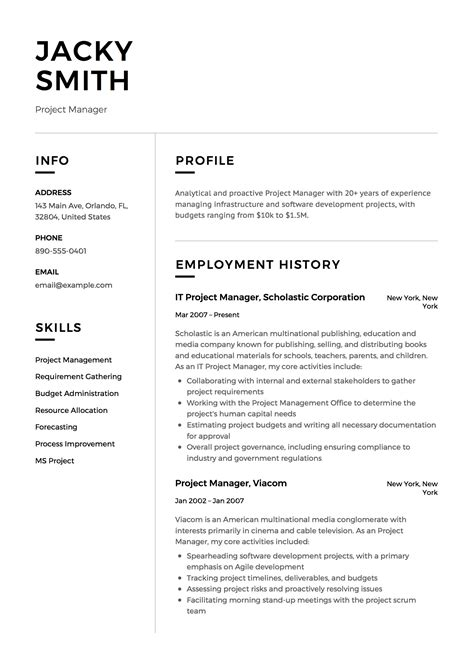 Executive Resume Introduction Project Management Executive Resume Example
