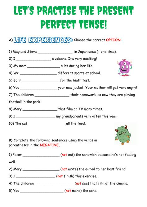 exercise of present perfect tense with answers for class 5