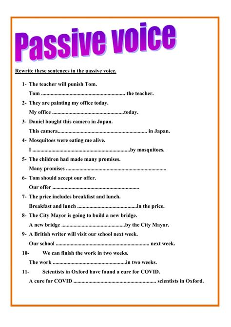 exercise on active and passive voice with answers pdf