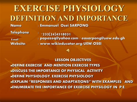 exercise physiology definition of work