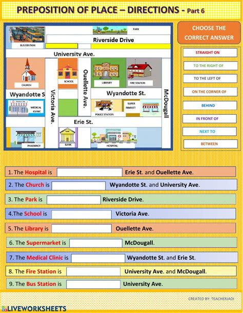 exercise prepositions of place and direction