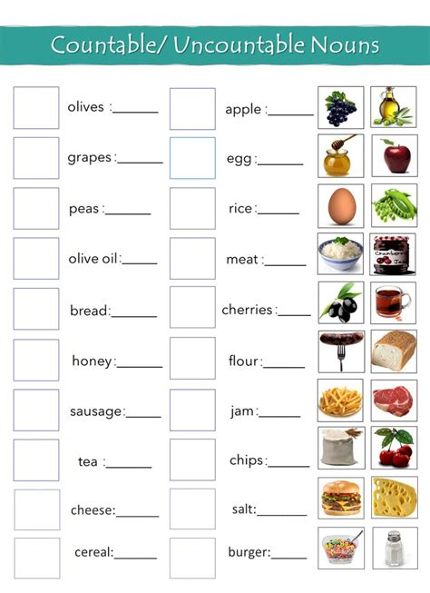 exercises countable and uncountable nouns
