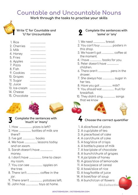 exercises countable and uncountable nouns advanced