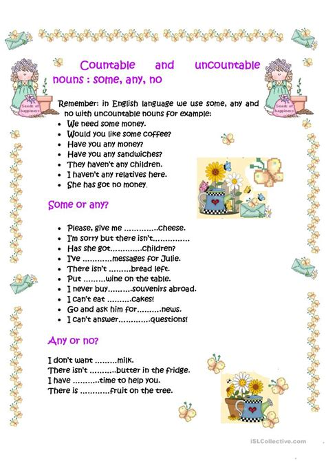 exercises countable and uncountable nouns some any