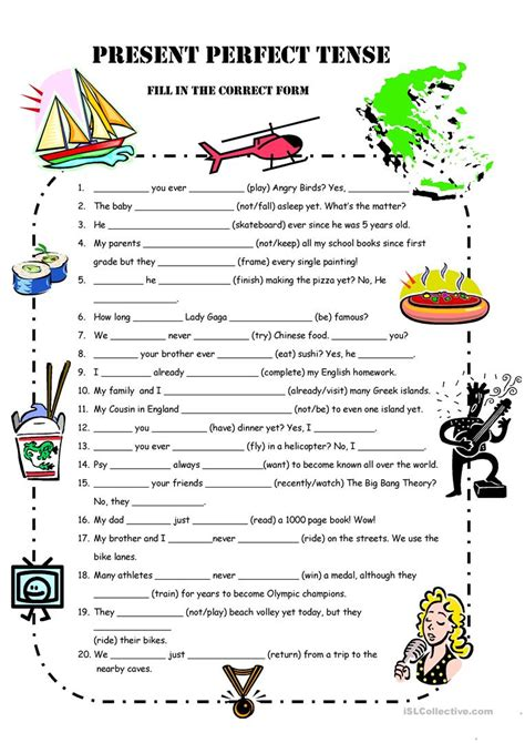exercises in english present perfect simple