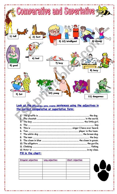 exercises of superlative and comparative adjectives