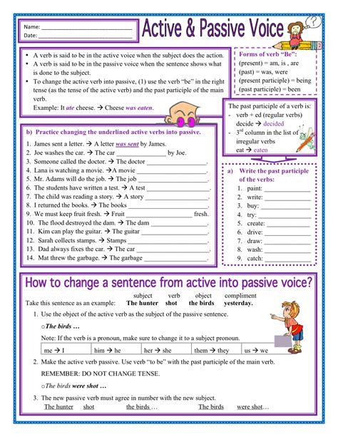 exercises passive voice regular verbs