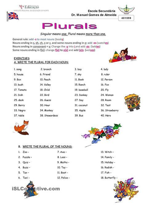exercises plural of nouns ensino m�dio