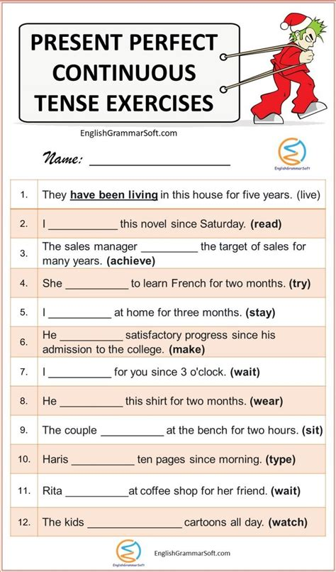 exercises present perfect and present perfect continuous