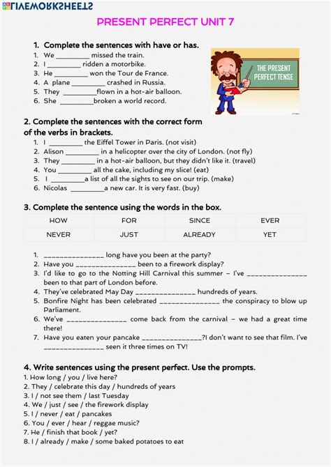 exercises present perfect pdf 2 eso
