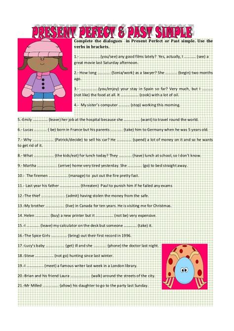 exercises present perfect simple past