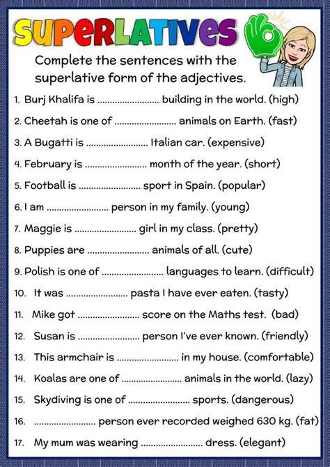 exercises superlatives adjectives pdf