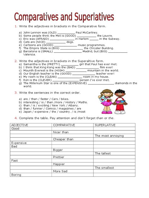 exercises superlatives and comparatives pdf